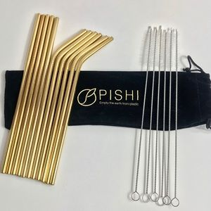 🍹11 Stainless Steel Drinking Sets Of Gold Straws